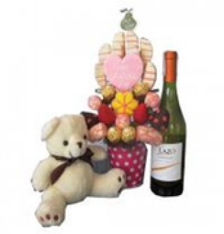 Loving Mama with Teddy Bear and Wine