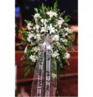 One Layer Funeral flowers with Orchids