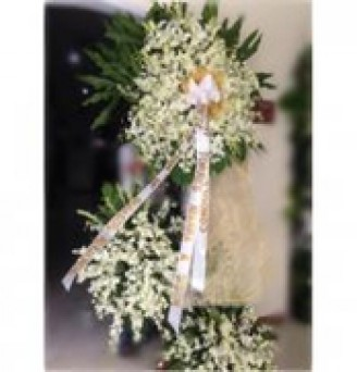 3 Layers All White Orchids Funeral Flower