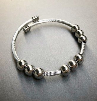 Nine Spheres Cable Bangle in Stainless Steel