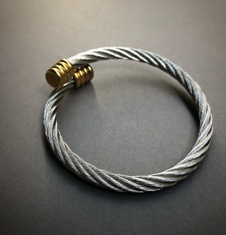 Classic Cable Bangle in Stainless Steel