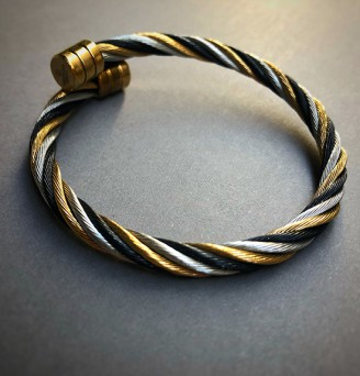 Black, Silver, Gold Cable Bangle in Stainless Steel