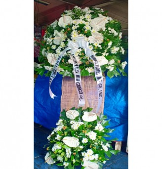 2 Layer All White Funeral Flowers