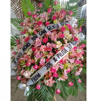 One Layer Standee Funeral Pink Flowers