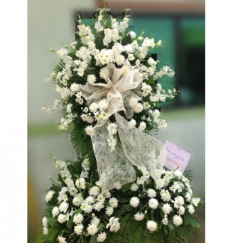 3 Layers All White Orchids Sympathy