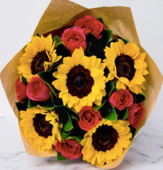 8 Red Roses and 5 Sunflower Bouquet