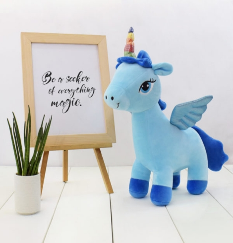 Avery Blue Unicorn Stuffed Toy Medium